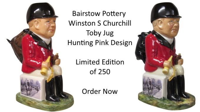 Winston Churchill Toby Jug Hunting Pink Design