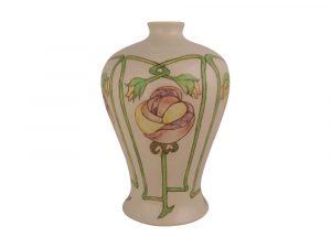 17cm Stoneware Vase Art Nouveau Design