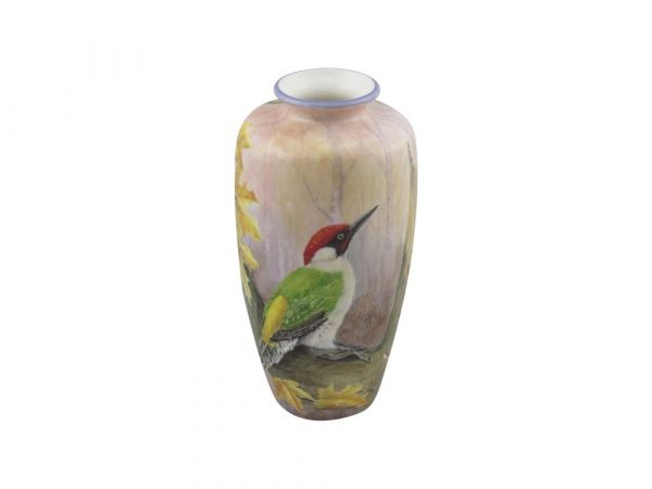 20cm Pottery Vase Green Woodpecker Design