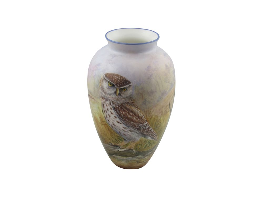 Peter Graves Ceramics Vase Little Owl Design Stoke Art