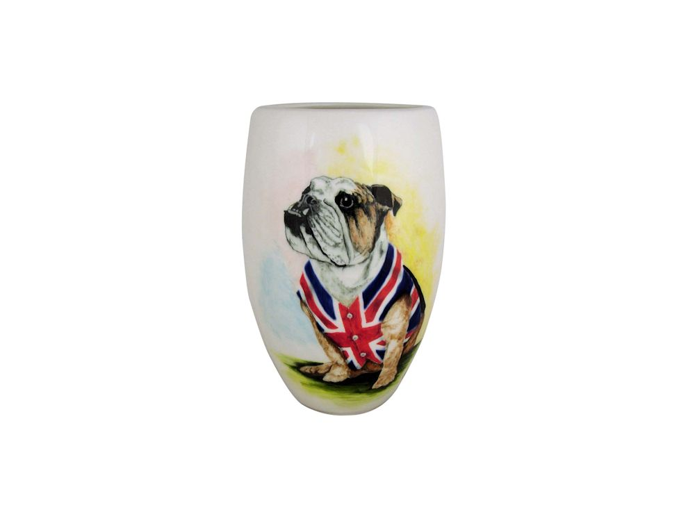 19cm Vase British Bulldog Design Tony Cartlidge Ceramic