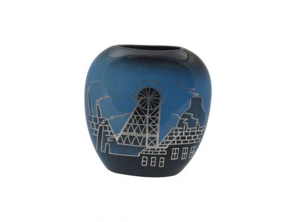 12cm Purse Vase Pithead Design Blue Colourway