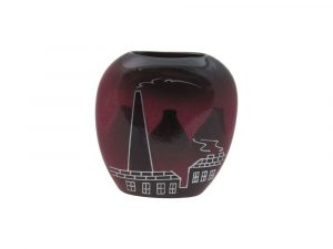 Purse Vase Potteries Design Maroon Colourway Lucy Goodwin Designs