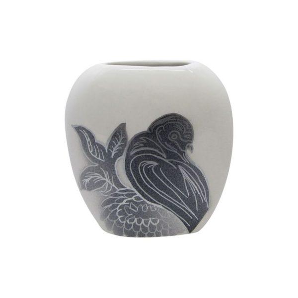 Purse Vase Bird Design White Colourway Lucy Goodwin