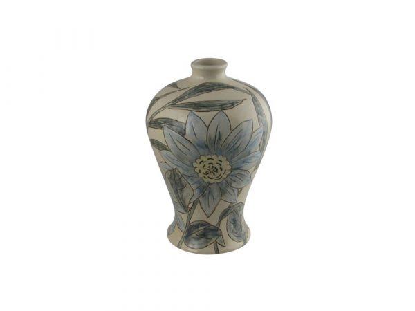 Burslem Pottery Hand Painted Vase Blue Daisy Design
