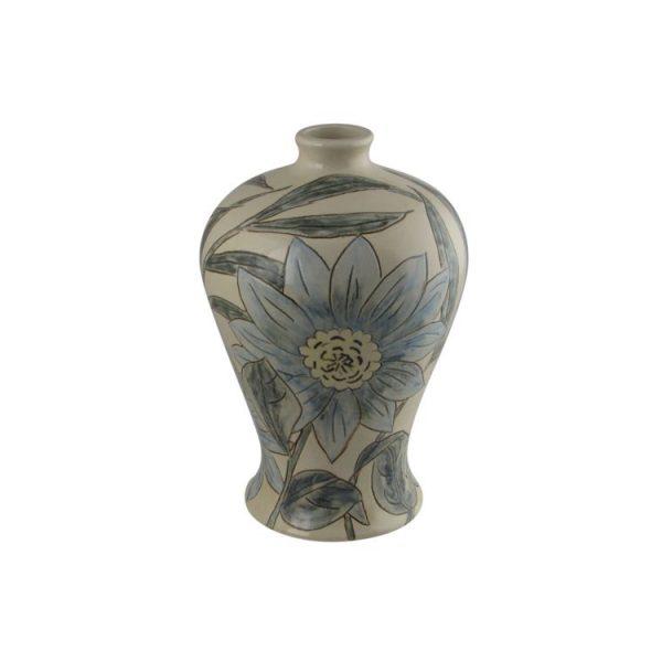 Burslem Pottery Hand Painted Vase Blue Daisy Design Stoke Art Pottery