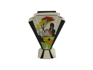 21cm Hand Painted Vase Art Deco Style Design Cottage Garden