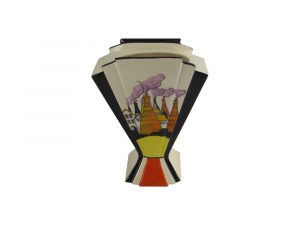 21cm Hand Painted Vase Art Deco Style Design Gladstone