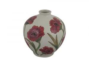 16cm Hand Decorated Vase Poppy Design
