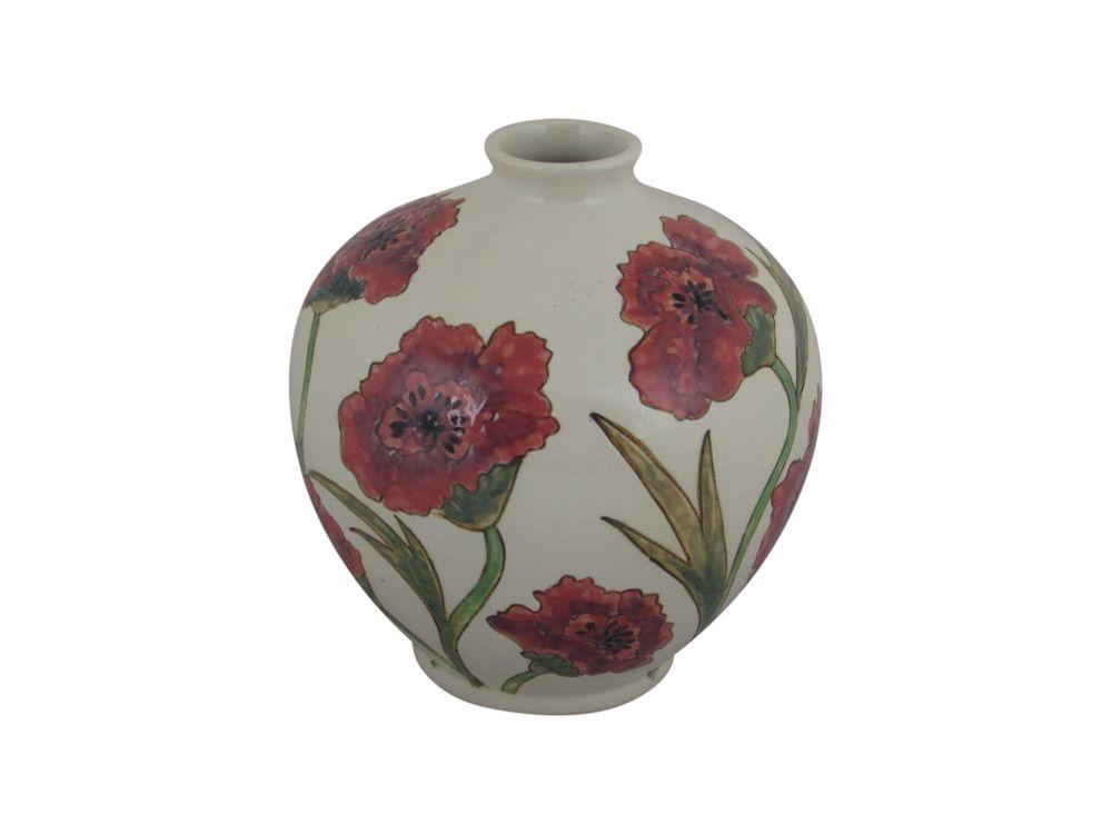 16cm Hand Decorated Vase Poppy Design Stoke Art Pottery