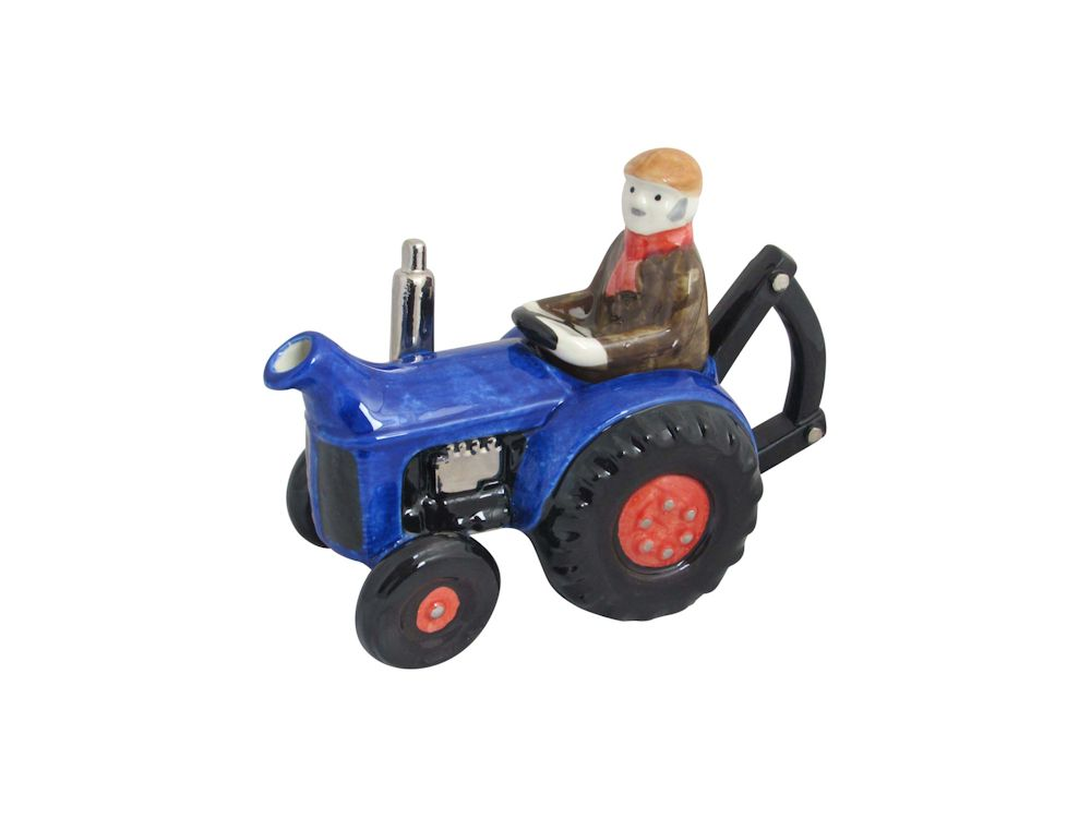 Farm Tractor Collectable Teapot Blue Carters of Suffolk
