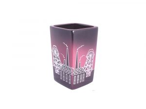 Square Vase Pit Head Design Maroon Colourway Lucy Goodwin Designs