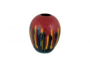 Red Mirage Design Delta Shaped Vase Anita Harris Art Pottery