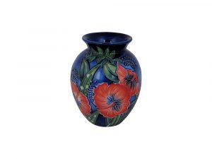 Old Tupton Ware 10cm Round Vase Hibiscus Design