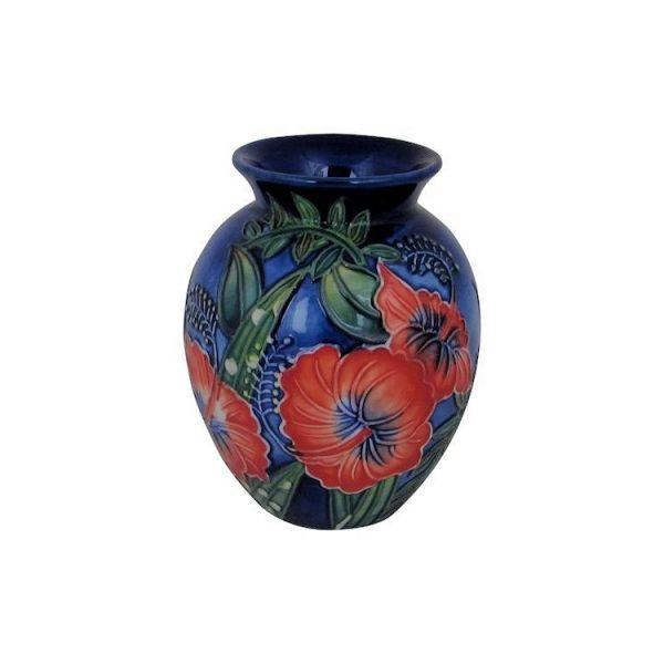 Old Tupton Ware 10cm Round Vase Hibiscus Design Stoke Art Pottery