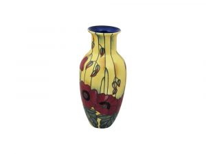 Old Tupton Ware Tall Round Vase Yellow Poppy Design.