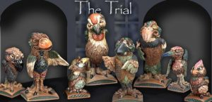burslem pottery grotesque birds the trial