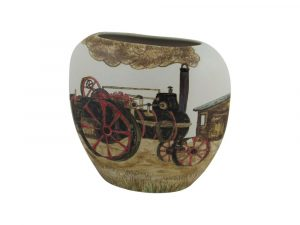 Burslem Pottery Vase Steam and Plough Design