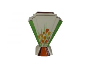 Marie Graves Ceramic Artist Fan Vase Golden Crocus Design.