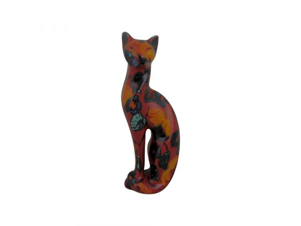 Serene Cat Figure Floral Design Anita Harris Art Pottery