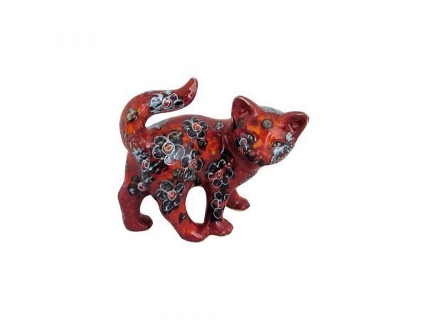 Small Kitten Figure Black Petals Design Anita Harris Art Pottery