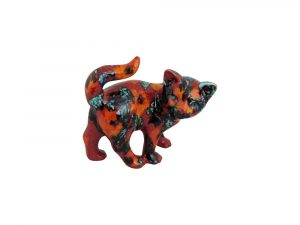Small Kitten Figure Floral Design Anita Harris Art Pottery