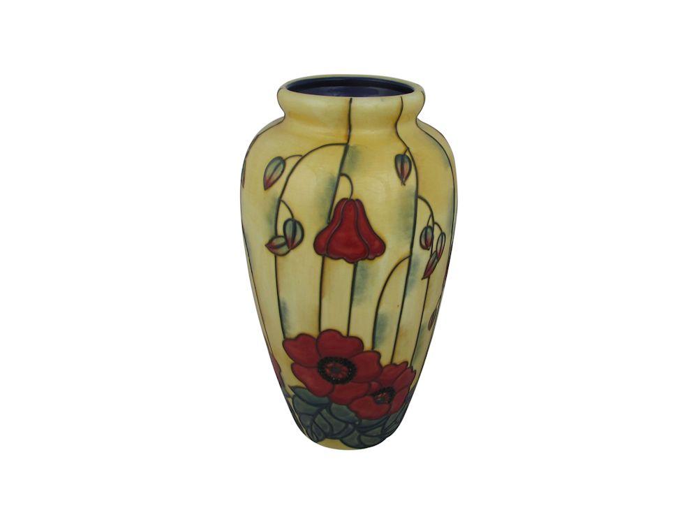 Old Tupton Ware 11 Inch Vase Yellow Poppy Design Stoke Art Pottery