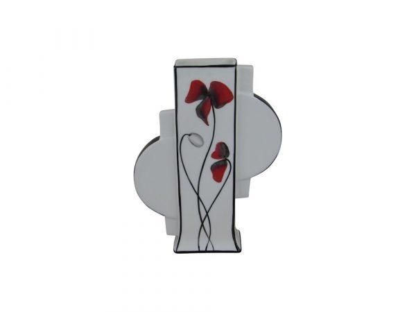Emma Bailey Ceramics Geo Vase Red Poppy Design