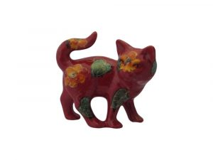 Anita Harris Art Pottery Kitten Figure Yellow Petals Design