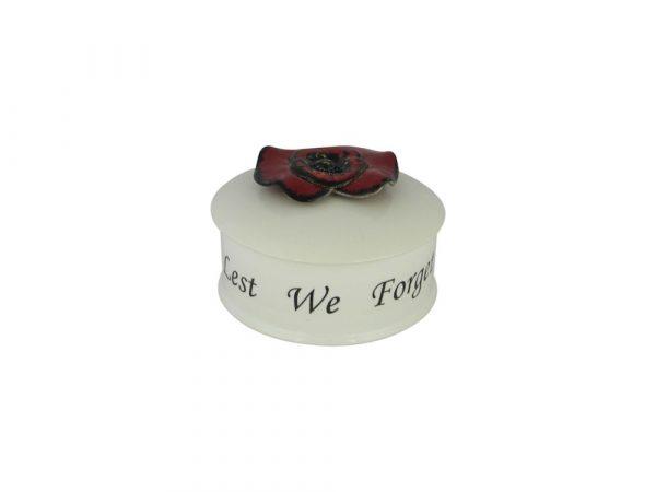Anita Harris Art Pottery 4 inch Trinket Box Lest We Forget Design