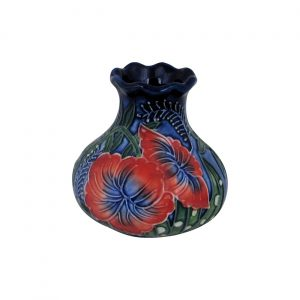 Old Tupton Ware Small Squat Vase Hibiscus Design