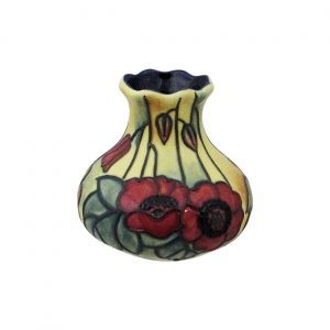 Old Tupton Ware Small Squat Shaped Vase Yellow Poppy Design