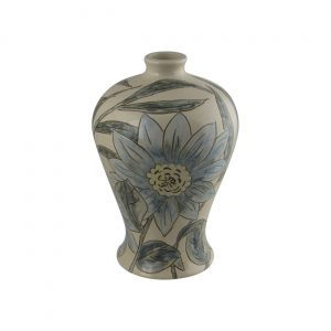 Burslem Pottery Hand Painted Vase Blue Daisy Design