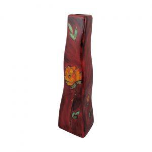 English Rose Design Ski Shaped Vase Anita Harris Art Pottery