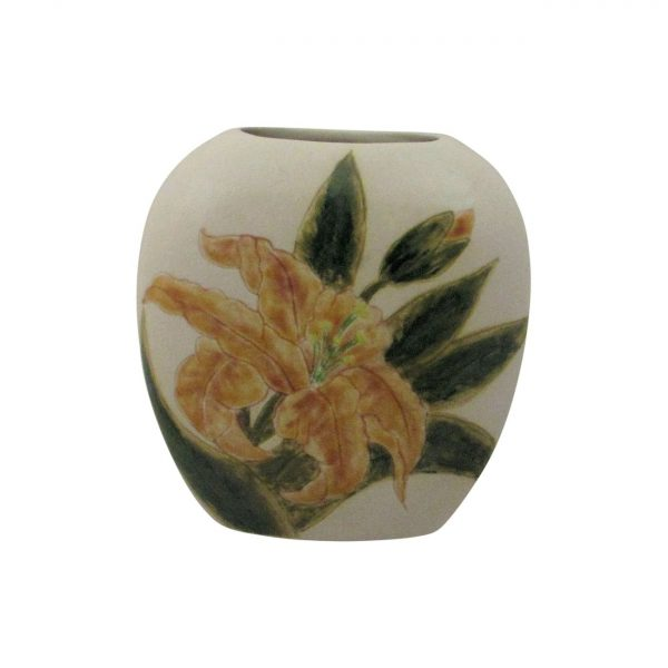 Burslem Pottery Small Purse Vase Lily Design