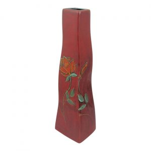 Ski Vase Eternal Orange Rose Design by Anita Harris Art Pottery