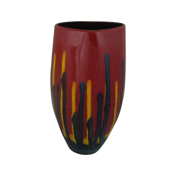 Red Mirage Design Triangle Shaped Vase Anita Harris Art Pottery