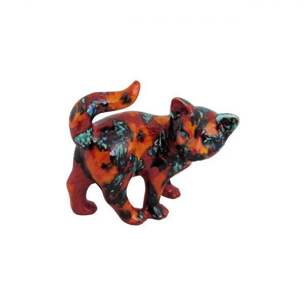Small Kitten Figure Floral Design Anita Harris Art Pottery