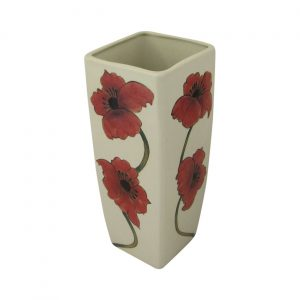Burslem Pottery 25cm Square Stoneware Vase Poppy Design