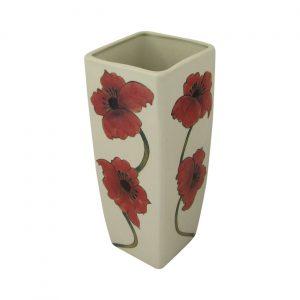 Burslem Pottery 25cm Square Stoneware Vase Poppy Design