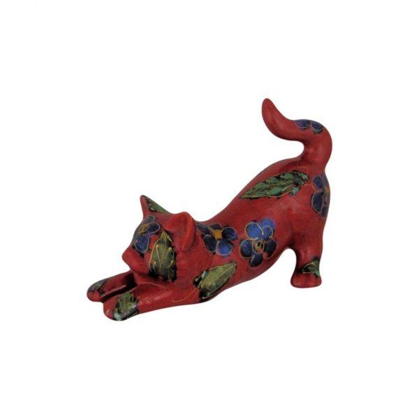 Blue Petals Design Cat Figure Anita Harris Art Pottery