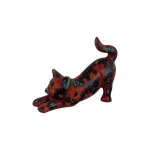 Stretched Cat Figure Floral Design Anita Harris Art Pottery
