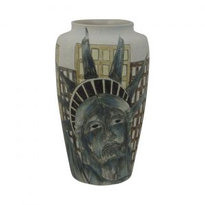 Burslem Pottery Tall Vase Man of Fire Design