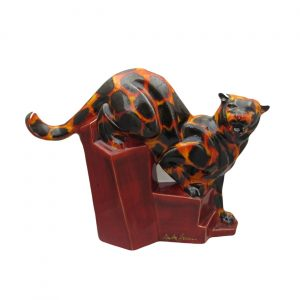 Cougar Figure Hot Coals Design Anita Harris Art Pottery