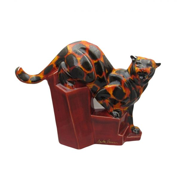 Cougar Figure Hot Coals Design Anita Harris Art Pottery