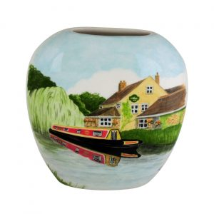 20cm Vase Canal Cruising by the Inn by Tony Cartlidge