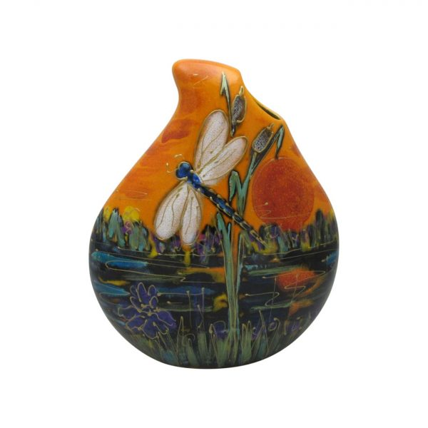 Dragonfly Design Teardrop Vase Anita Harris Art Pottery