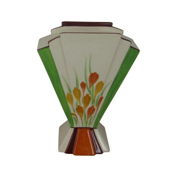 Marie Graves Ceramic Artist Fan Vase Golden Crocus Design.