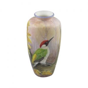 Peter Graves Ceramics Vase Green Woodpecker Design