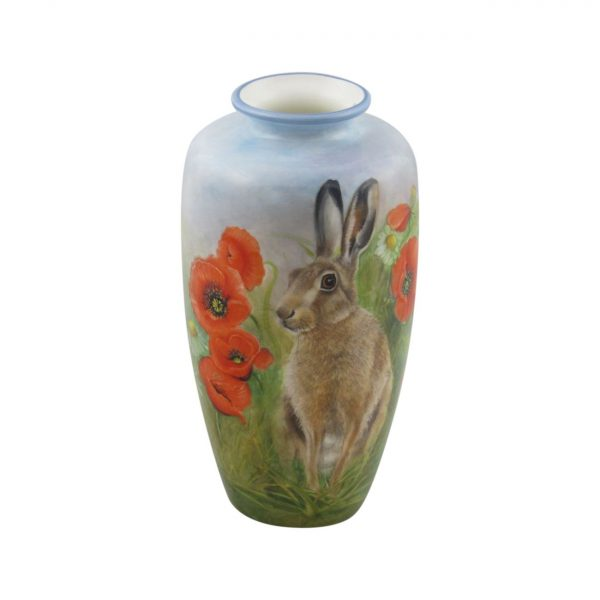 20cm Vase Hares in the Poppy Field Design